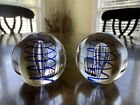 Signed Vintage Kosta Boda Glass Sphere Sculpture Paperweight Set of 2