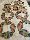 Vintage Quilt Top Blocks Pieces Double Wedding Ring 18 Feed Sack Feedsack