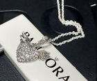 NWT AUTHENTIC PANDORA SILVER NECKLACE HEART AND ANGEL WINGS 398505C01 45 177IN