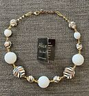 Murano Glass Necklace Hand Painted White Black  Gold made in Venice Italy