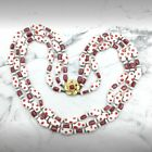 Vintage art glass Red And White polka dot triple strand necklace