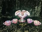 Fenton pink iridescent opalescent art glass mini punch bowl set with 4 cups 2000
