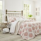 Laura Ashley Coral Coast 2 Piece Quilt Set Cotton Twin Full Queen King