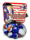Patriot Net Bag 25 Glass Mega Marbles 1 Shooter 24 Players Red White Blue 98 04