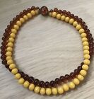RARE SIGNED MADE IN FRANCE LOUIS ROUSSELET AMBER GLASS BEAD VINTAGE NECKLACE
