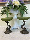 Set of Green Glass Compote Dish 6 Bowls Spelter Koi Dolphin Fish Pedestal Dish