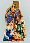 CHRISTOPHER RADKO 8 Ornament HOLY REFLECTIONS Stained Glass Nativity 1015767