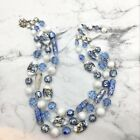 Vintage Signed Vendome Blue  White Bead Necklace Art Glass Crystal