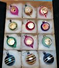 Vtg ORIG Box of 12 TEARDROP  ROUNDS INDENT POLAND Xmas Tree Glass Ornaments
