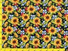 Sunflowers w Blue  Red Flowers Quilting Sewing Fabric 5 1 2+ Yards mdg2 3