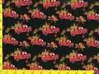 Red Truck Fall Harvest Flowers on Black Quilting Sewing Fabric 5 1 2+ Yards 2 5
