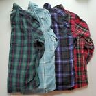 LL Bean Lot of 4 Flannel Shirts Womens Large Petite Red Green Teal Purple