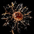 Vintage Signed SCHREINER NEW YORK Black Pink Glass Cabochons Ruffle Brooch Pin