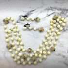 Vintage Japan Art Glass Bead Necklace And Earrings Deco Yellow Murano Style