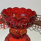 LE Smith Moon and Stars Glass Footed Candy Jar Dish Ruby Red 6 1 4 N1