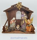 Vintage Nativity with Wood Manger and Painted Ceramic Figurines 7