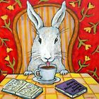 bunny rabbit at the cafe coffee shop art tile coaster gift