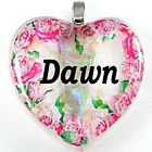Name Dawn 925 Sterling Silver Heart Dichroic Glass Lampwork Pendant T2312