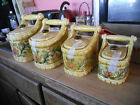 VINTAGE canister set,LEFTON CHINA,gold w/tulips,lilies,great condition