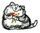 Cat Kitten Pet W Flowers Embroidered Iron On Applique Patch