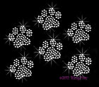 6 Clear Paw Prints Rhinestone Iron On Transfer Hot Fix