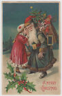 Girl Whispers Blue Green Robe Father Christmas Postcard