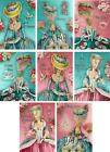 Vintage Inspired Marie Antoinette aqua pink small note cards set 8 w envelopes