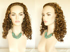 Wig With Braided Head Band Medium Long Red Wavy Curly 3 4 Cap Long Spiral Curls