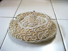 EVENING BAG,WHITE BEADS ON BEIGE SILK, NO HANDLE 1940'S