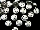 25 Pcs 6mm Tibetan Silver Smiley Face Spacer Beads Craft Findings Beading J164