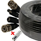 100ft  AWG22 Double Shielded Premade Siamese CCTV Video+Power Cable  Black
