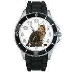 Maine Coon Cat Mens Ladies Fashion Black Jelly Silicone Band Wrist Watch S145E