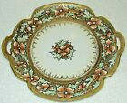 ANTIQUE 1891-1911 NIPPON MORIAGE HAND PAINTED FLORAL GOLD CAKE PLATE MAPLE LEAF