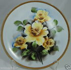 VINTAGE PORCELAIN PLATE/PLAQUE HAND PAINTED YELLOW ROSES GOLD RIM