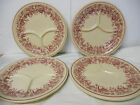 Shenango  INCA Ware New Castle PA Red Floral Avon Grill Plates, Set/ 4 Incaware