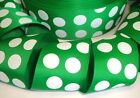 2 1/4 GREEN WHITE ST PATRICK CHRISMTAS CLASSIC JUMBO DOTS GROSGRAIN RIBBON 4 BOW