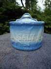 Blue and White Stoneware Flying Birds Salt Crock with Lid
