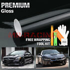 12x60 GLOSS BLACK GLOSSY Vinyl Wrap Sticker Decal Sheet w Bubble Air Release