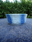 Blue and White Stoneware Flying Birds Berry Bowl with Vertical Stripes