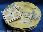 222 FIFTH BELISSA YELLOW FLORAL SET OF 4  PLATES Dessert Cake Appetizer Snack