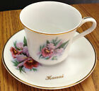 Pink Orchid Kauai Porcelain Gold Trimmed Teacup and Saucer by Viletta Arts