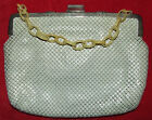 RARE VINTAGE 1940's JOSEF OF PARIS WHITE ENAMEL MESH PURSE HANDBAG DECO STRAP