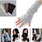 Knitting Wool Crochet Braided Wrist Hand Arm Warmer Mitten Fingerless Gloves U