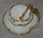 Antique China Open Salt Bowl & Serving Spoon - White & Gold - Rosenthal, Bavaria