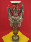 CHINESE PORCELAIN URN VASE BRONZE CRACKLE HAND PAINTED & HANDMADE GOLD TRIM