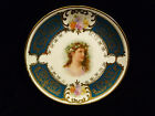 "ES GERMANY DECORATIVE PLATE ""GIRL WITH HOLLY WREATH"" – CIRCA 1900"