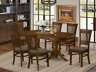 7PC OVAL DINETTE DINING ROOM SET TABLE +6 MICROFIBER UPHOLSTERED CHAIRS ESPRESSO