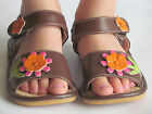 Toddler Sandals Squeaky Sandals Brown with Pink Flower Up to Size 7