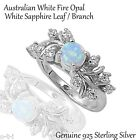 Australian White Fire Opal w/ White Sapphire Leaf / Nature Sterling Silver Ring