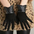 Soft Suede Women Lady's GENUINE LAMBSKIN leather Warm Winter Grid gloves 6 Color